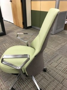 Unique Office Chairs delivered and installed by Marathon Building Environments. We also have standing desk available if you do not want to sit.